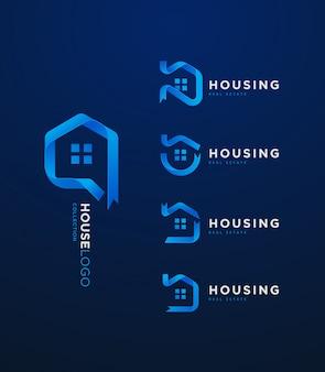 3d blue gradient ribbon house logo collecion