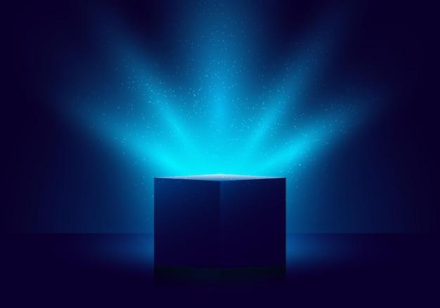 어두운 배경에 조명이 반짝이는 3d 파란색 미스터리 상자. 벡터 일러스트 레이 션