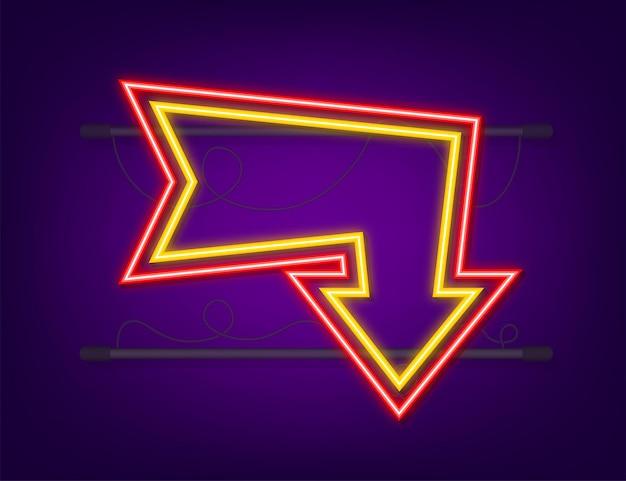 3d синяя неоновая стрелка на темном фоне. вектор белый свет. графический цветной фон. векторная иллюстрация.