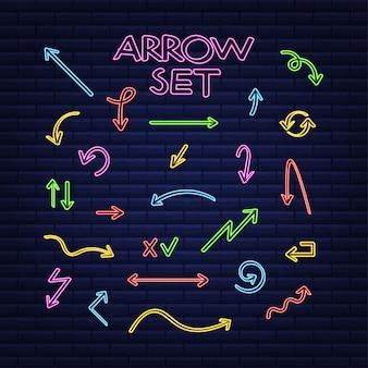 3d blue neon arrow set on dark backdrop vector white light graphic color background
