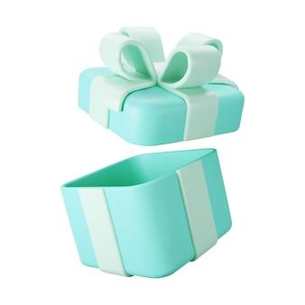 白い背景で隔離のパステルリボンの弓と3d青いオープンギフトボックス。 3dレンダリング飛行現代の休日オープンサプライズボックス。プレゼント、誕生日、結婚式のバナーの現実的なベクトルアイコン。