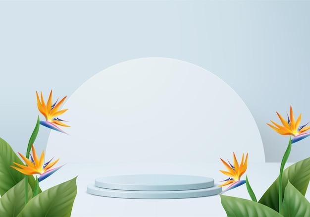 熱帯のプラットフォームの夏の背景を持つ3d青い手のひらレンダリング製品ディスプレイ表彰台シーン