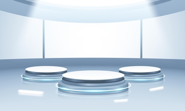 3d blue rendering with podium and minimal blue stage