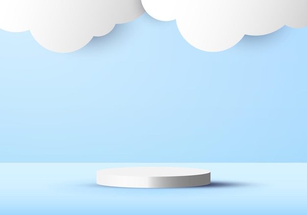 3d blue scene background with white cylinder and cloud