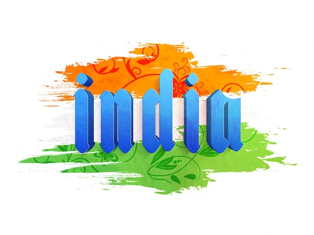 3d blue text india with floral saffron and green brush strokes for indian independence day celebration.