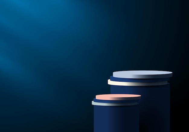 3d blue and white cylinder pedestal in dark blue empty room with lighting background. you can use for products display presentation, cosmetic, studio room, etc. vector illustration