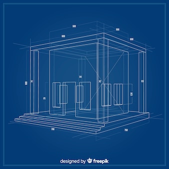 3d blueprint of a building project
