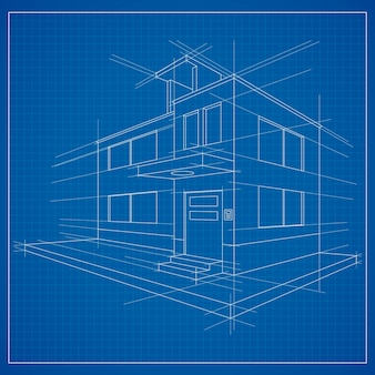 3d blueprint of a building