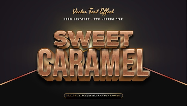3d bold caramel text style with embossed effect in gold and brown concept