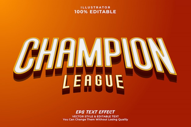 3d bold champion editable text effect style