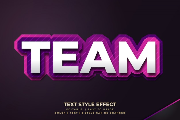 3d bold text style effect для команды e-sport с фиолетовым градиентом