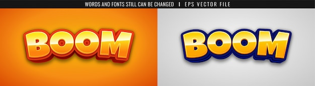 3d boom game logo text effect - cartoon style