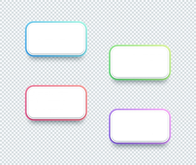 Вектор 3d box white text box элементы набор из четырех