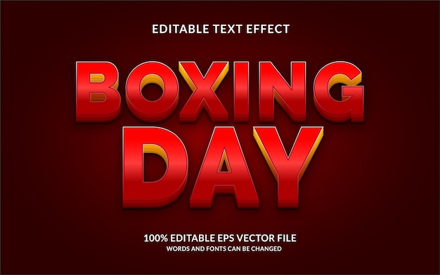 3d boxing day text effect editable text style