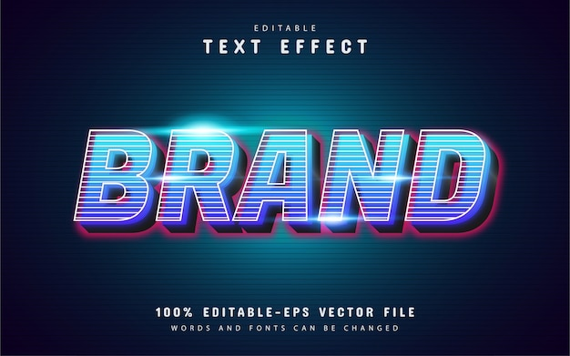 3d brand text effect with line pattern