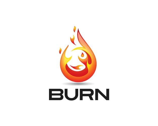 Значок 3d глянцевый огонь и черный текст burn