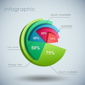3d business diagram template with text fields and marked by different colors of chart