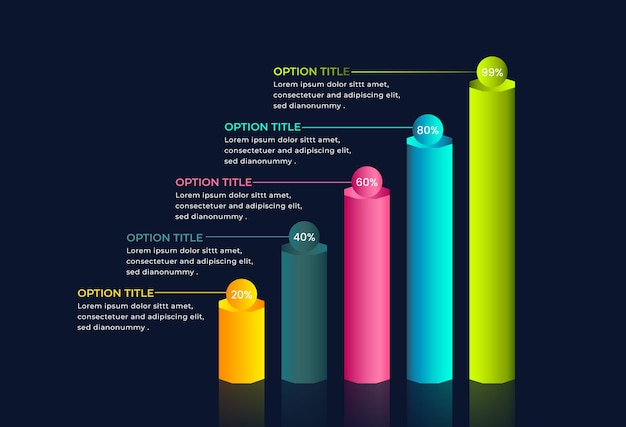 3d 비즈니스 성장 인포 그래픽 디자인