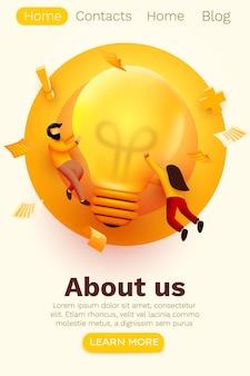 3d business people with big light bulb idea. website landing page.
