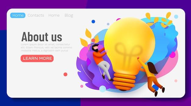 3d business people with big light bulb idea
