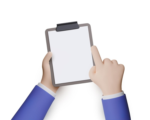 3d businessman hands hold empty clipboard. vector illustration