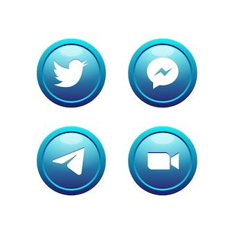3d 버튼 블루 소셜 미디어