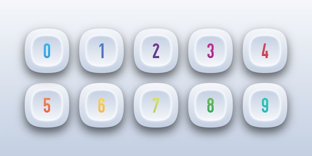 3d button icon set with number bullet point