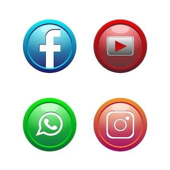3d 버튼 소셜 미디어 아이콘