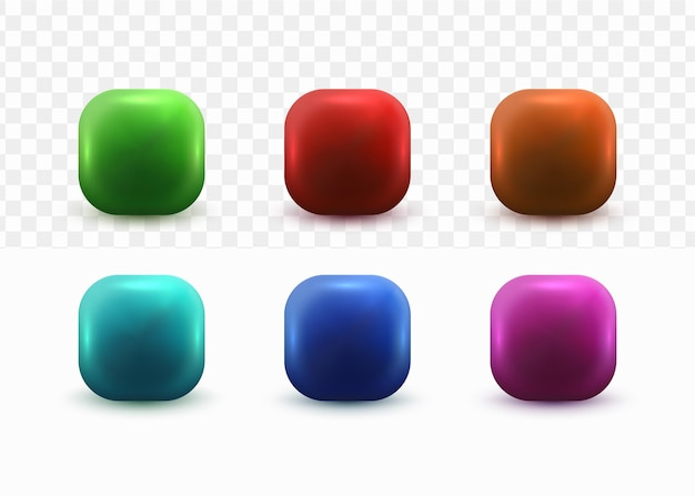 3d buttons set for social media icon template on white tranparent background