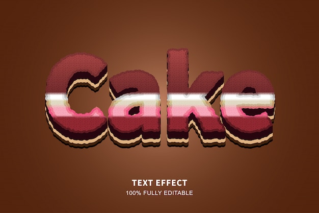 3d cake style text effect, editable text