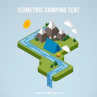 風景の中に3dのキャンプのテント