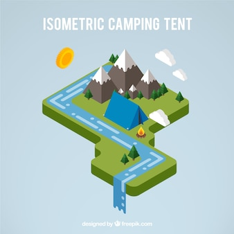 3d camping tent in a landscape