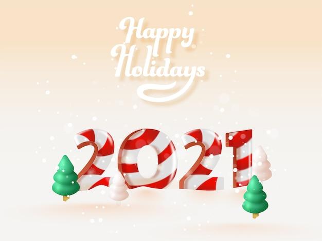 해피 홀리데이를위한 복숭아 bokeh 배경에 눈 덮인 크리스마스 트리와 3d 사탕 지팡이 2021 번호