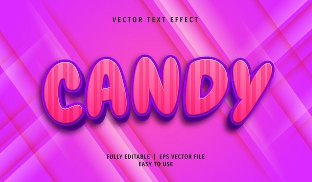 3d candy text effect, editable text style