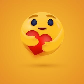 소셜 미디어 반응을 위해 두 손으로 붉은 심장을 껴안고 있는 3d 케어 이모티콘 반응