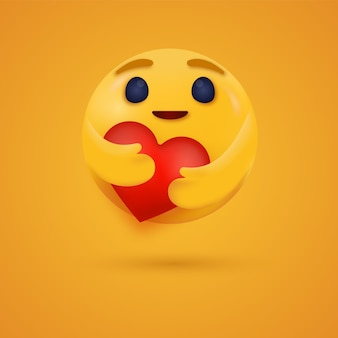 3d care emoji reaction hugging a red heart with both hands for social media reactions