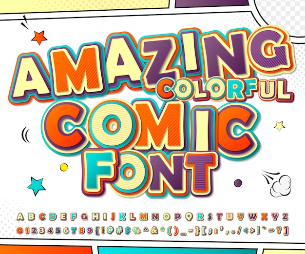 3d cartoon alphabet in comics and pop art style. funny font of letters and numbers for decoration comics book page