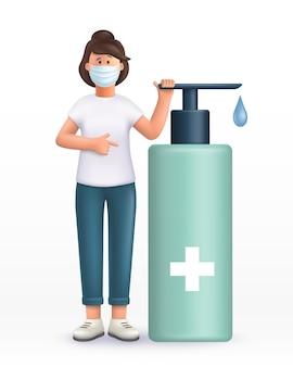 3d 만화 캐릭터. 마스크를 쓰고 큰 알코올 살균 젤 근처에 서있는 젊은 여성, 손을 씻고 바이러스 감염을 예방하기 위해 소독제.