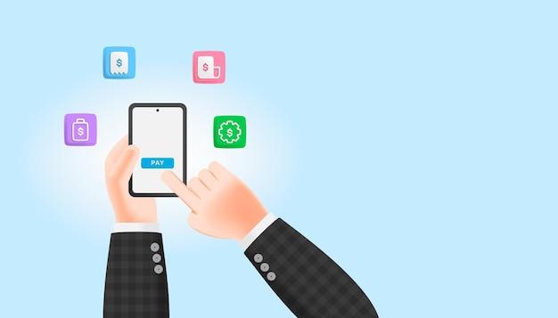 3d cartoon illustration businessmen hand holding smartphone paying bill. online payment concept.