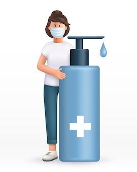 큰 알코올 살균 젤 근처에 서있는 마스크를 쓰고 3d 만화 젊은 여자