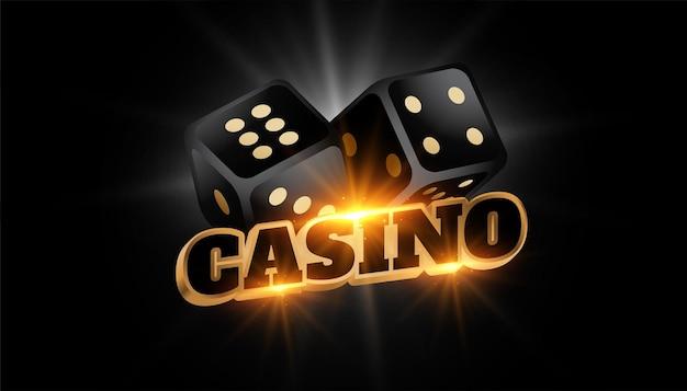光沢のある黒いサイコロと3dカジノの背景