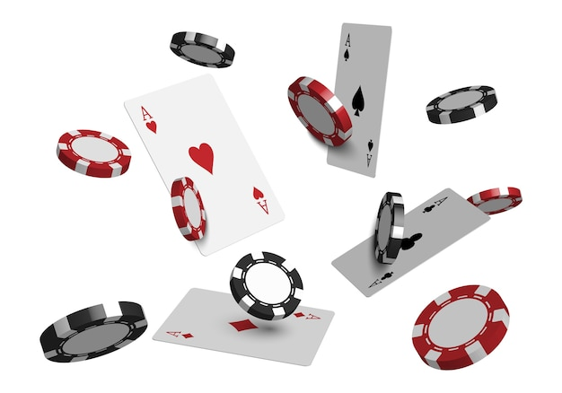 3d casino poker cards and playing chips isolated on white background