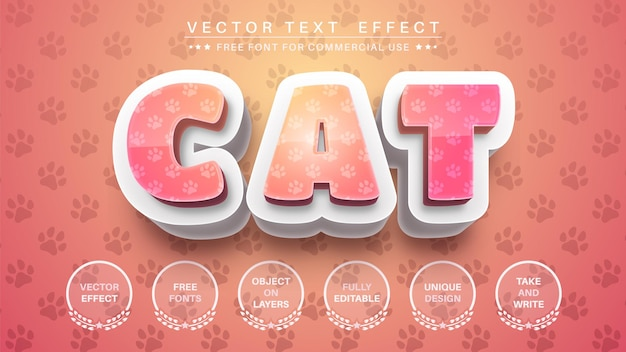 3d 고양이 텍스트 효과