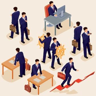 3d平らな等角の人々のベクトル図。ビジネスリーダー、鉛マネージャー、ceoのコンセプト。