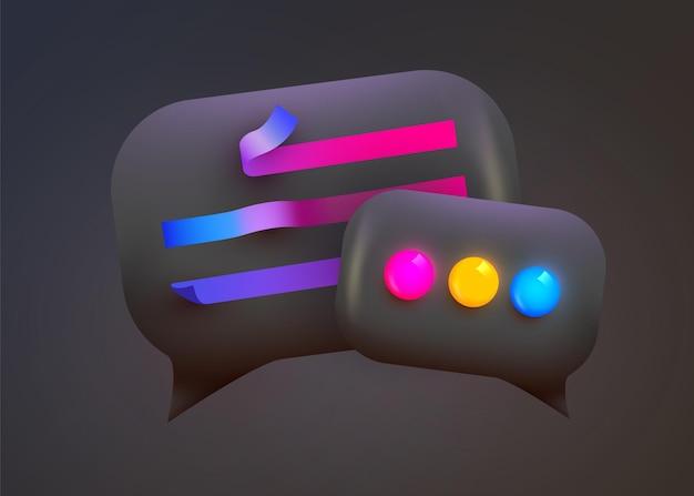 3d 채팅 거품. 대화, 대화, 메신저.