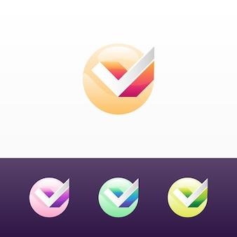 サークルのロゴとバリエーションのある3dチェック