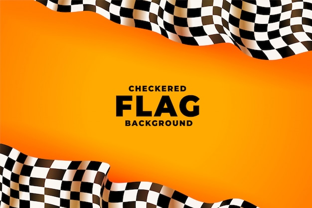 3d checkered racing flag yellow background