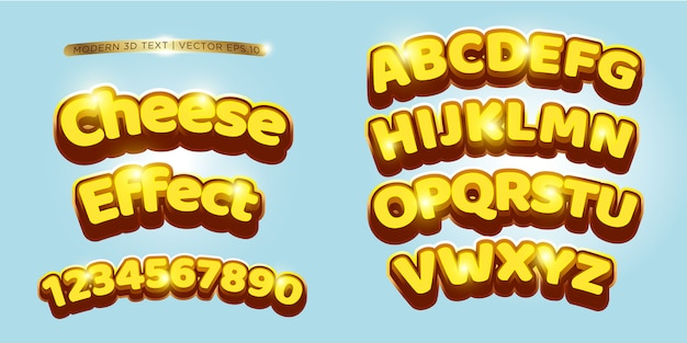 3d cheese & comic lettering set