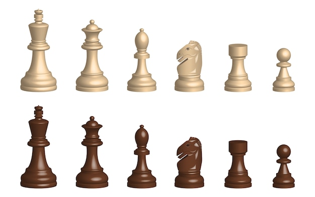 3d chess game pieces design illustration isolated on white background