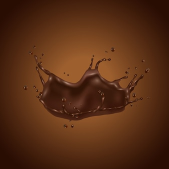 3d chocolate splash isolated on brown background
